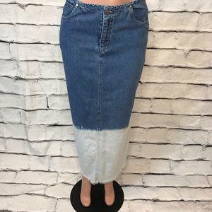 Vintage Ombré Denim Maxi Skirt